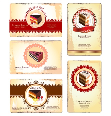 Coffee,tea and cakes menu or business card template Vector