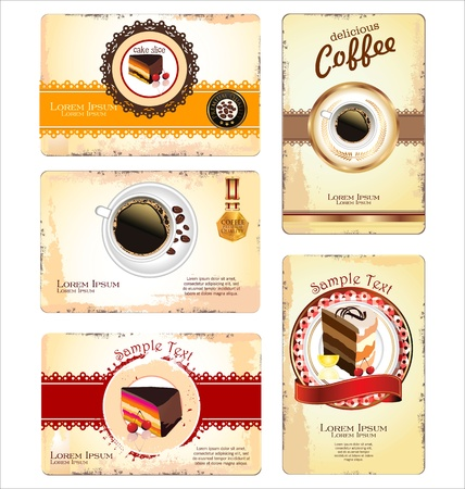 phone card: Coffee,tea and cakes menu or business card template