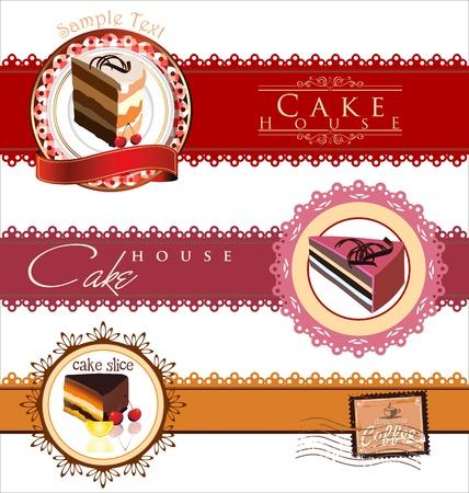 wedding cake illustration: Labels with cupcake invitation template Illustration