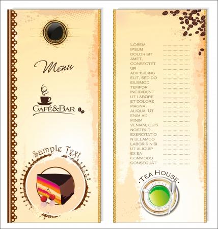 Coffee,tea and cakes menu template Vector