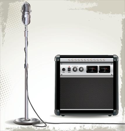 microfono antiguo: Amplificador de Guitarra el�ctrica y fondo del micr�fono retro