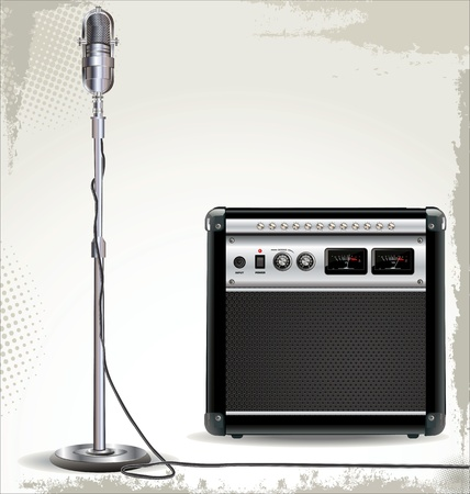 amps: Electric guitar amplifier and retro microphone background