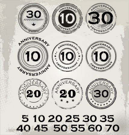happy anniversary: Grunge anniversary rubber stamp set