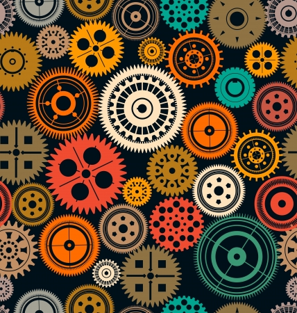 Seamless vector gear and cogwheel retro color background Vector