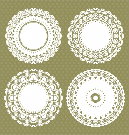 Set for round lace doily Vector