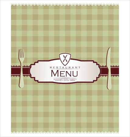 stoneware: Menu with cutlery on checkered background