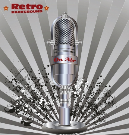 Vintage microphone on grunge ray background Vector