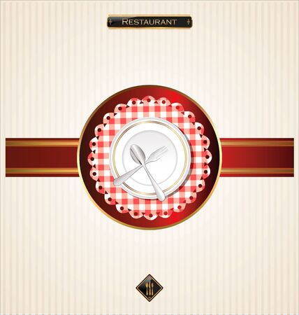flatware: Menu with cutlery on checkered background