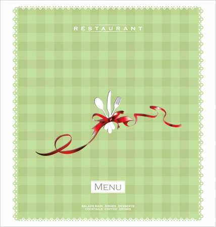 chequered ribbon: Restaurant or cafe menu design Illustration