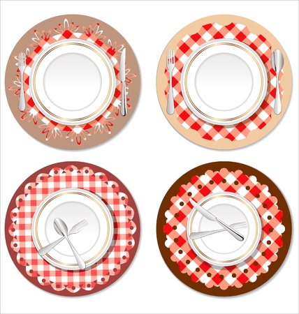 White plate on a checkered red tablecloth Vector