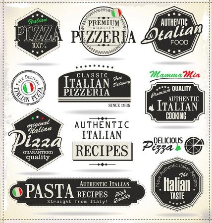 pizza: Etiquetas retro pizza Vectores