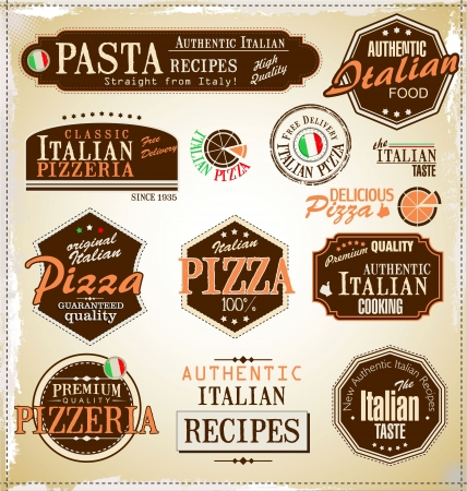 Pizza retro labels Vector