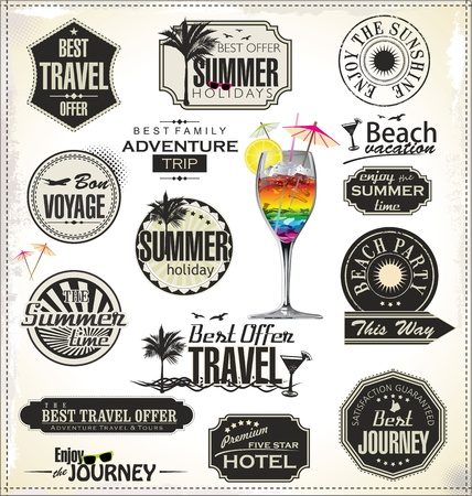 Summer holiday and travel time retro Label Vector