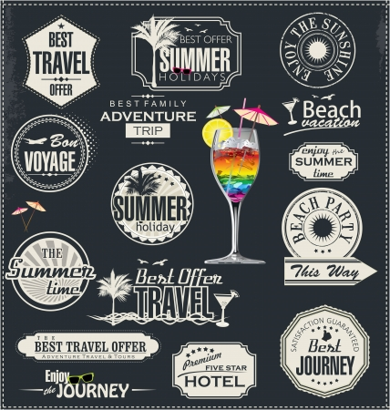 grunge stamp: Summer holiday and travel time label
