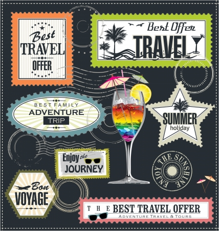 post cards: Post stamp, Summer holiday and travel time label Illustration