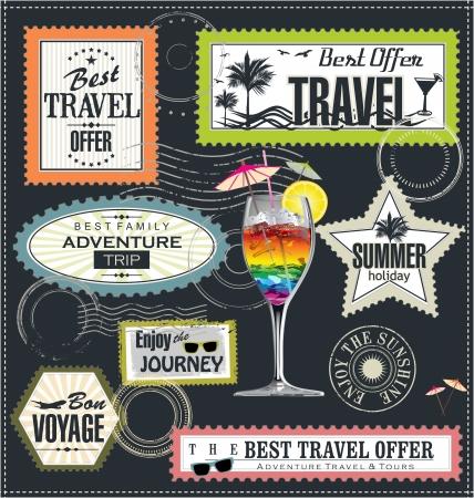 post stamp: Timbro postale, vacanza estiva ed etichetta il tempo di viaggio Vettoriali