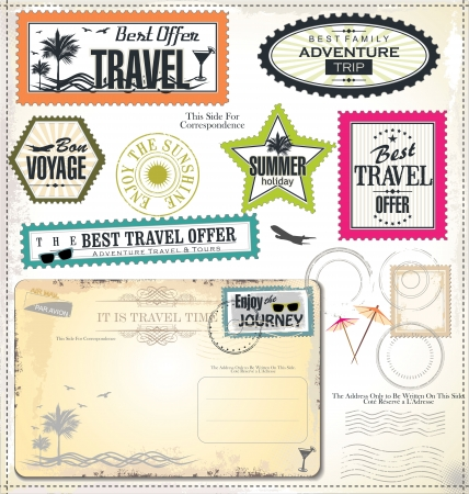 tour boats: Post stamp, Summer holiday and travel time label Illustration