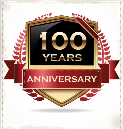 golden laurel wreath 10 years: Anniversary design label