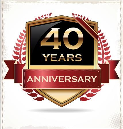 anniversary party: Etichetta disegno Anniversario Vettoriali
