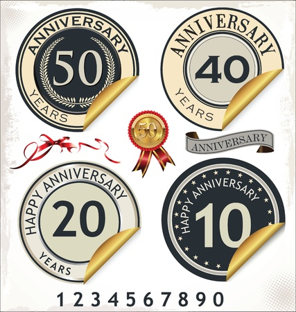 Anniversary sign collection, retro design Stock Vector - 19890513