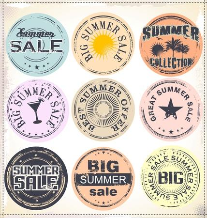 old stamp: Summer vacation grunge rubber stamp Illustration