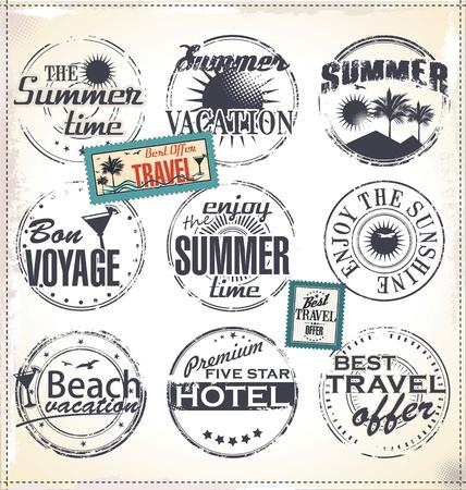 postage stamp frame: Summer vacation grunge rubber stamp Illustration