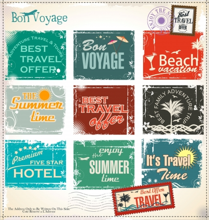 stamp collection: Summer vacation grunge labels Illustration