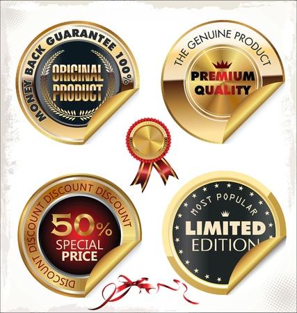 Set of golden PREMIUM quality labels Stock Vector - 19906262