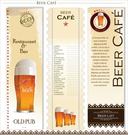 vasos de cerveza: Men? de la lista de la cerveza Vectores