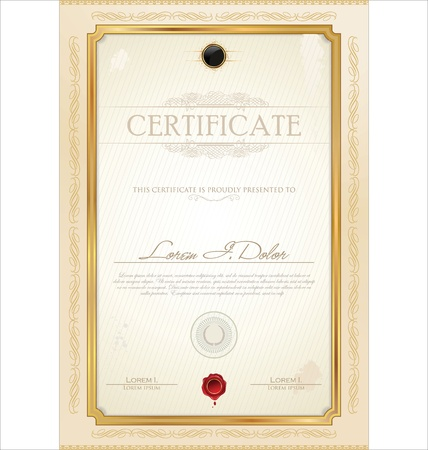 gold frame: Luxury certificate template
