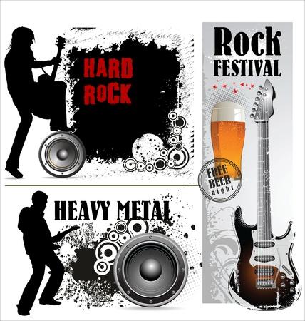 hard rock: Hard and heavy metal banner set Illustration