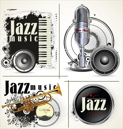 Jazz grunge labels Vector