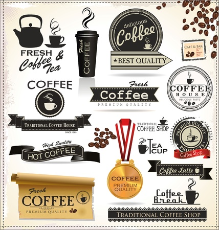 cold coffee: Vintage Retro Coffee Badges And Labels