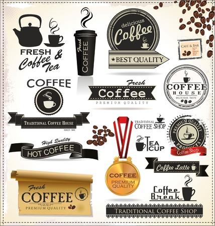 coffee beans: Vintage Retro Coffee Banners en etiketten