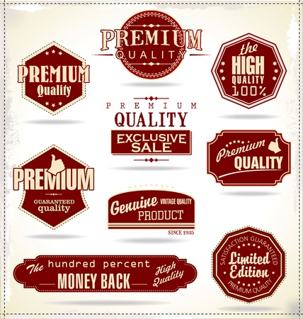 vintage: Jogo de etiquetas do vintage retro