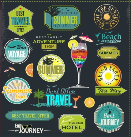 Summer stamps and labels Vector