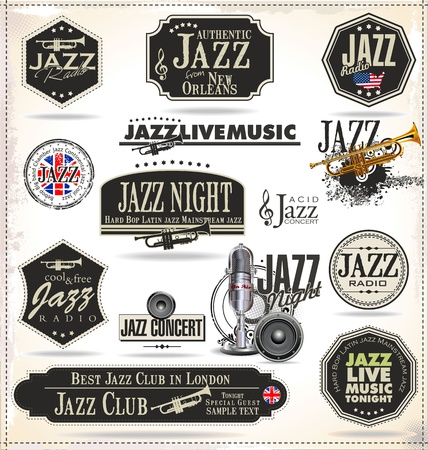 troubadour: Jazz music stamps and labels