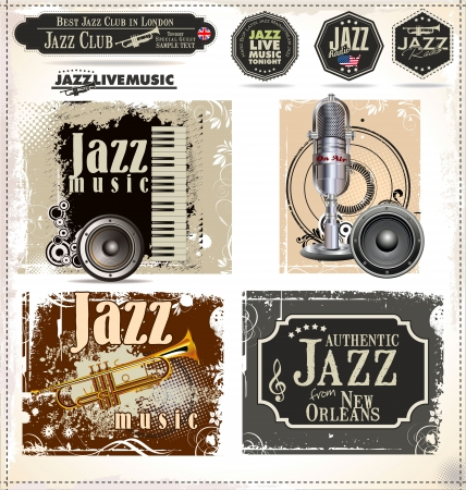 trumpeter: Jazz music stamps and labels
