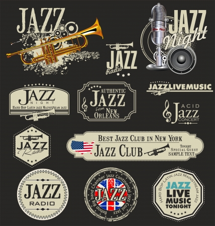 brass wind: Jazz music stamps and labels