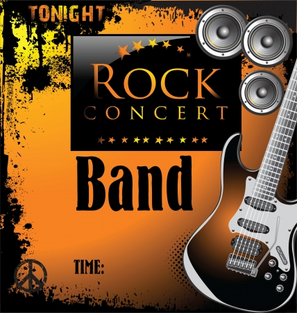 guitariste rock: Concert de rock affiche Illustration