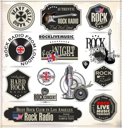 Des timbres et ?tiquettes de musique rock Banque d'images - 20168989