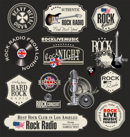 rock band: Rock music stamps and labels