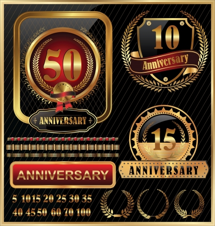 10 15 years: Aanniversary golden label with ribbons, set