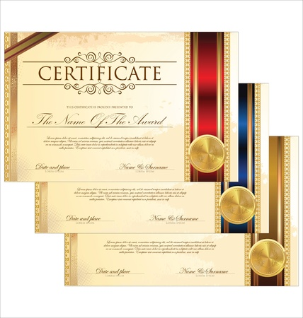 formal blue: Certificate template set Illustration