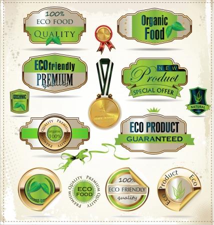 fresh produce: Set of organic labels Illustration