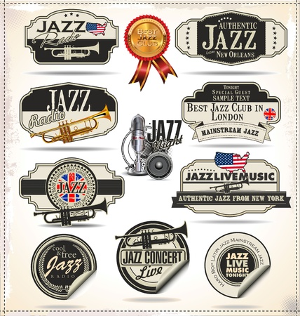 jazz music: Jazz music stamps and labels