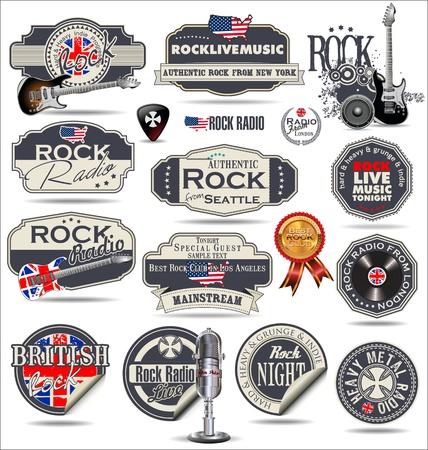 microfono antiguo: Sellos de la m?sica rock y las etiquetas Vectores
