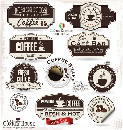 coffee beans isolated: Set of Retro Vintage coffee labels