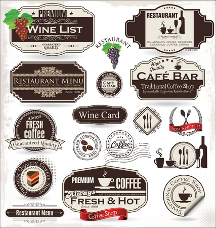 coffee tree: Label set for restaurant and cafe