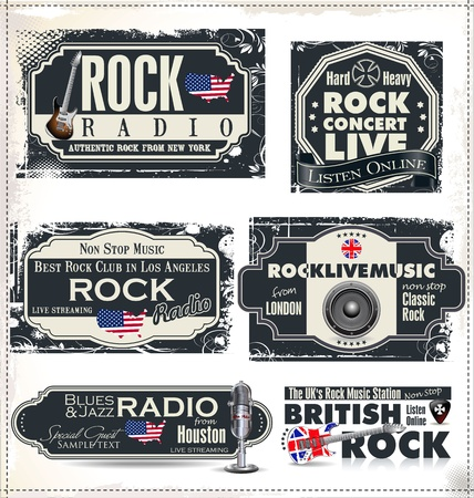 Rock music radio station labels Stock Vector - 20322154
